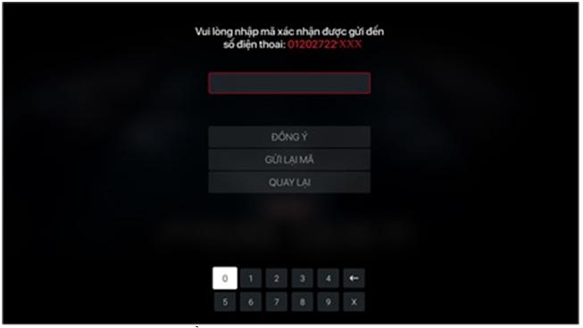 Nhập số điện thoại đã dùng để hệ thống kiểm tra và gửi mã OTP xác nhận box fpt play