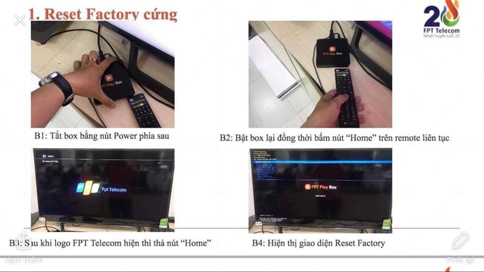 Hướng dẫn reset FPT Play Box bước 1234