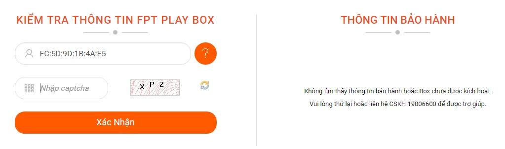 Kiểm tra thông tin bảo hành FPT Play Box cũ